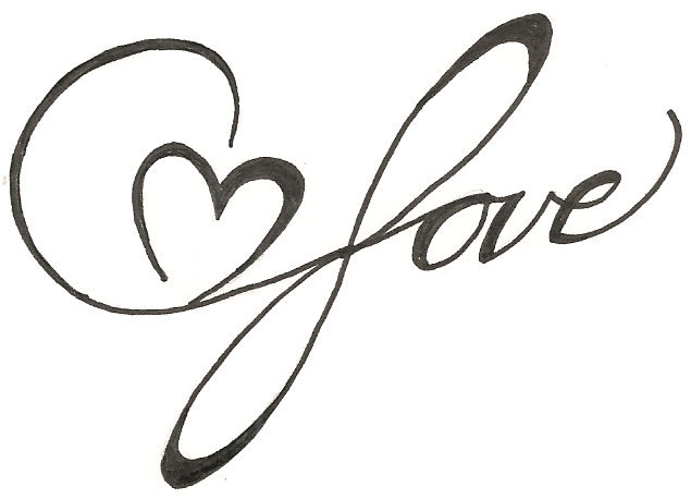 Nice Heart Love Text Tattoo Design Stencil