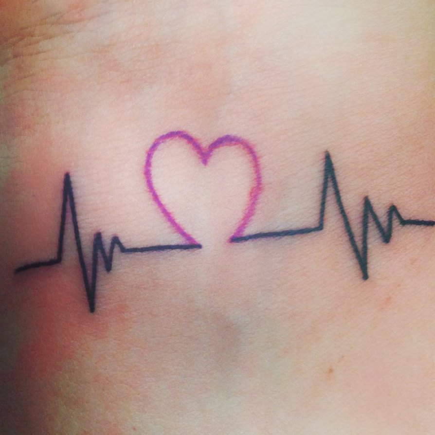 Nice Heartbeat Love Heart Tattoo Make On Girl Wrist