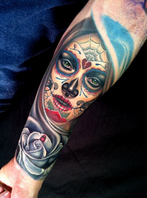 Nice Hot Day Of The Dead Latino Girl Face And Rose Tattoo On Forearm