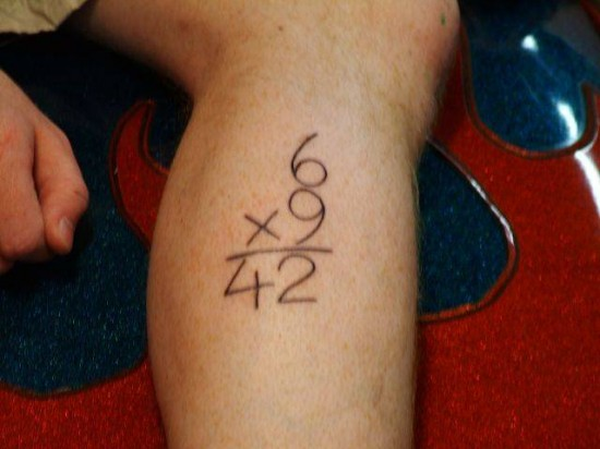 Nice Leg Multiply Number Tattoo
