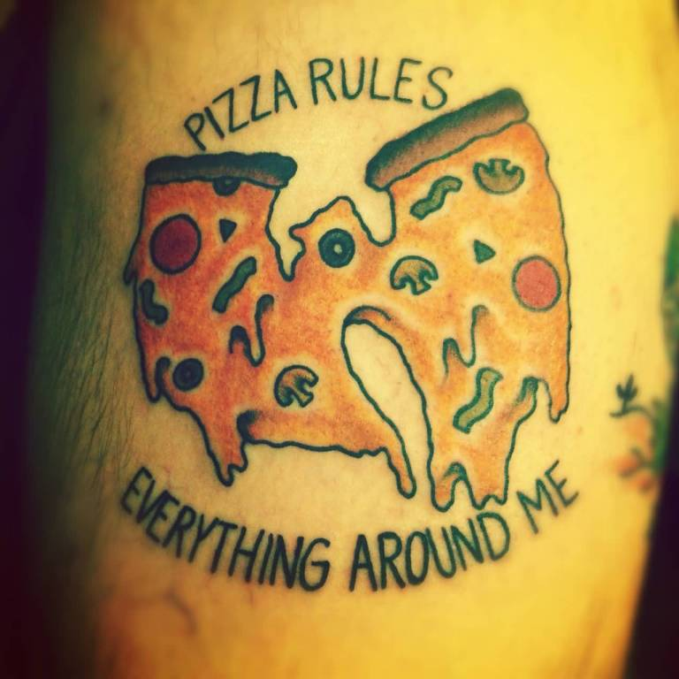 Nice Letters And Amazing Pizza Tattoo