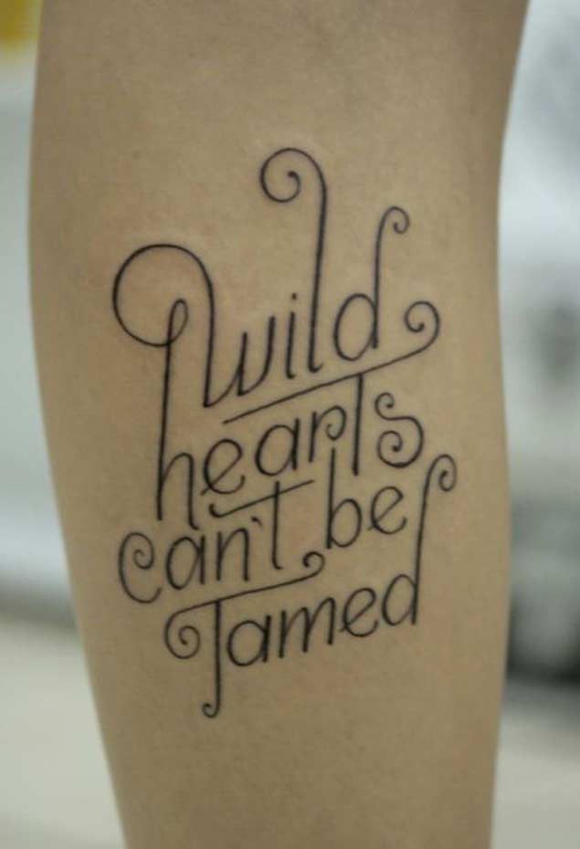 Nice Letters Love Quote Tattoo By Black Ink