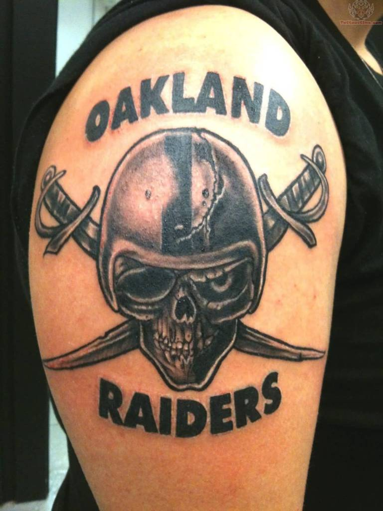 Nice Letters Oakland Raiders Skull Tattoo