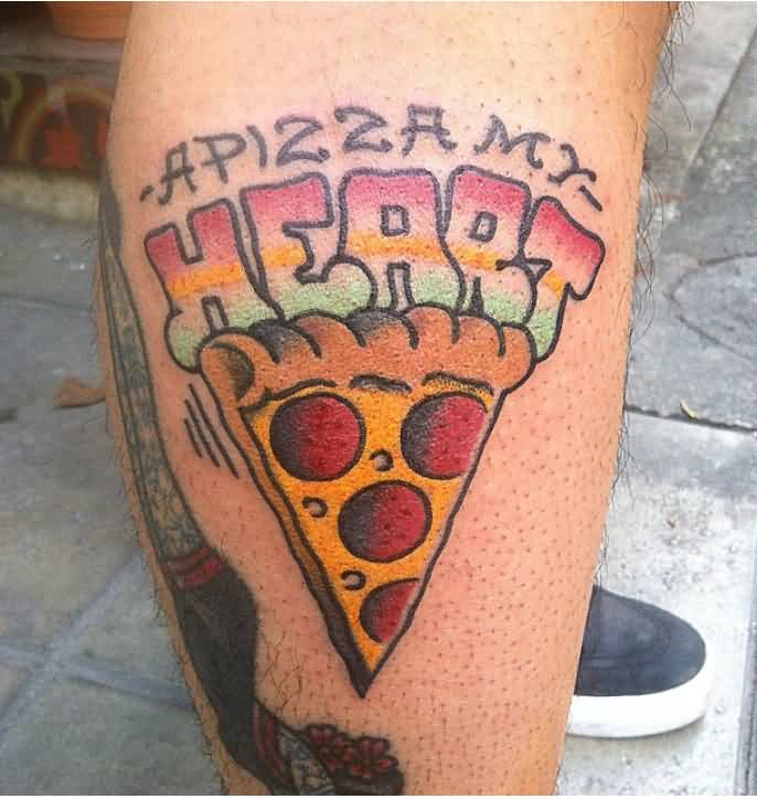 Nice Letters Pizza Tattoo On Leg