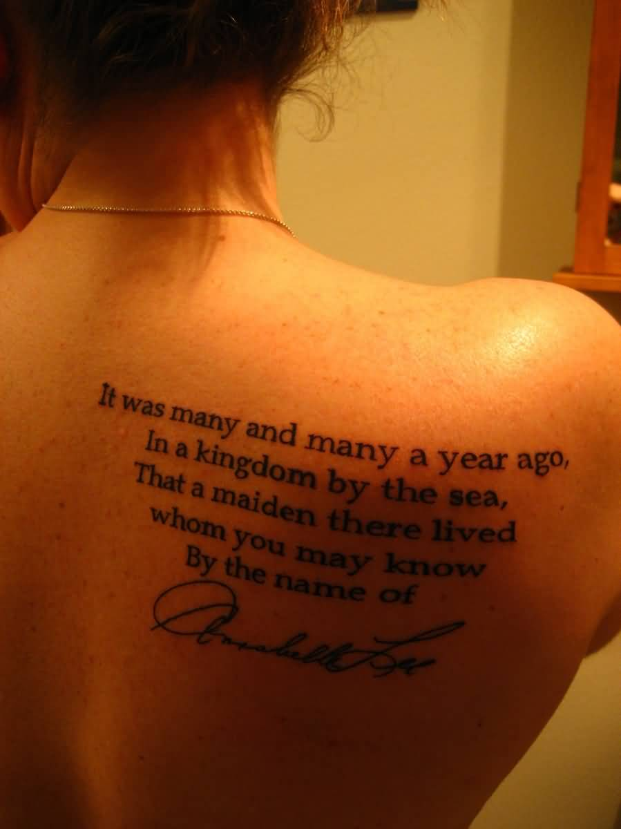 Nice Letters Poem With Signature Tattoo On Upper Back