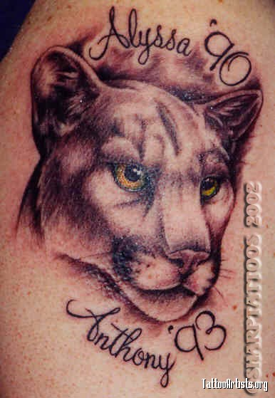 Nice Letters With Amazing Puma Tattoo Idea