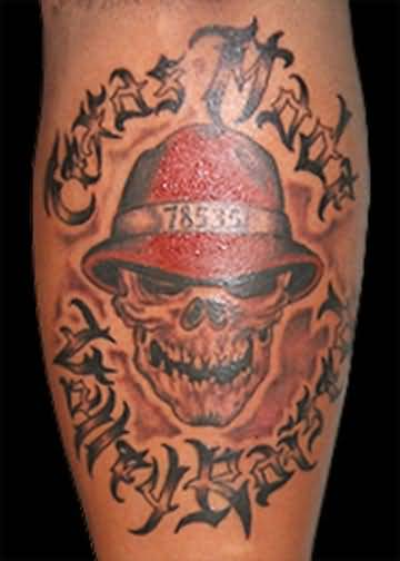 Nice Letters With Gangsta Skull Tattoo