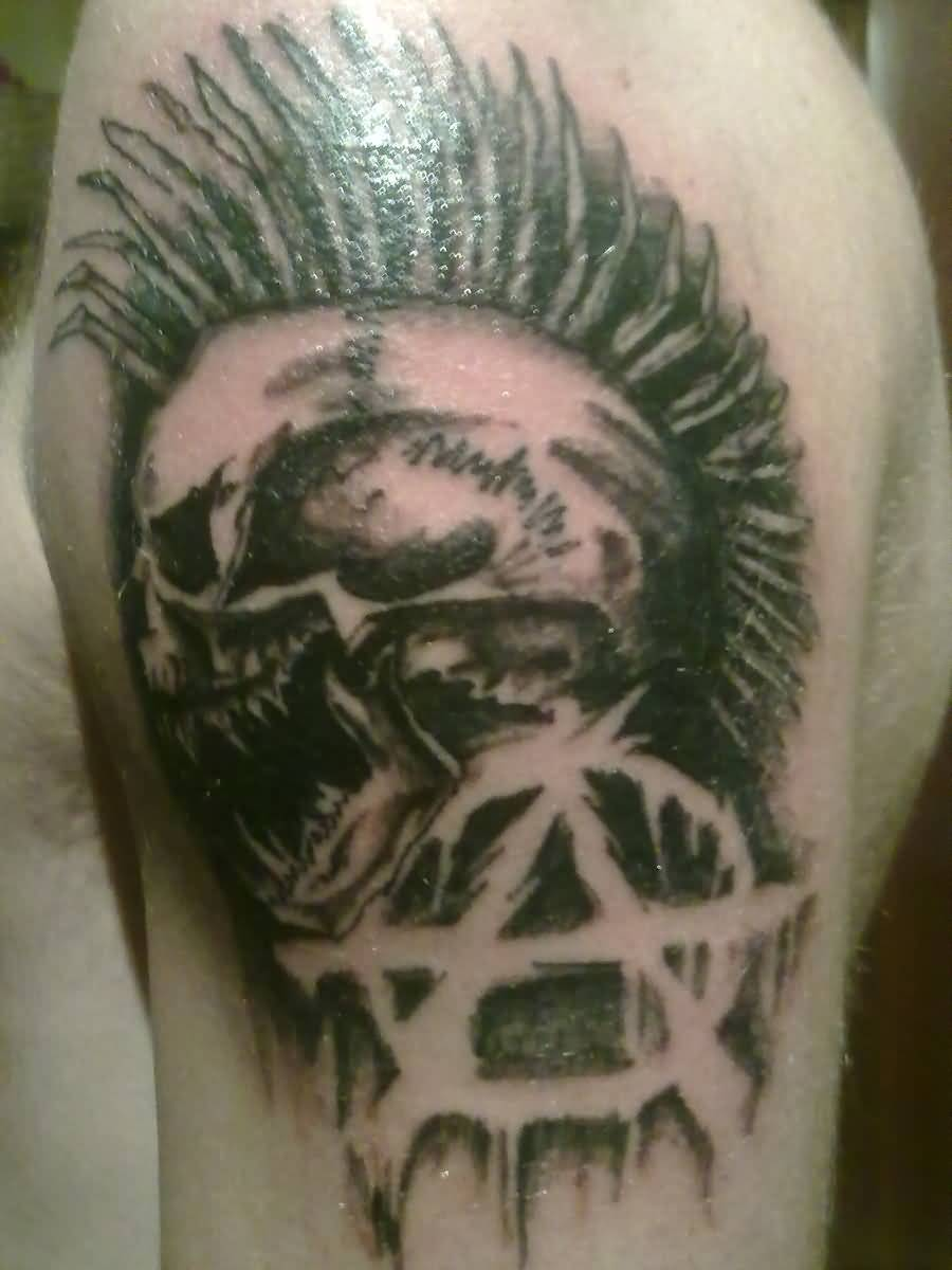 Nice Logo With Punk Skull Tattoo On Half Sleeve