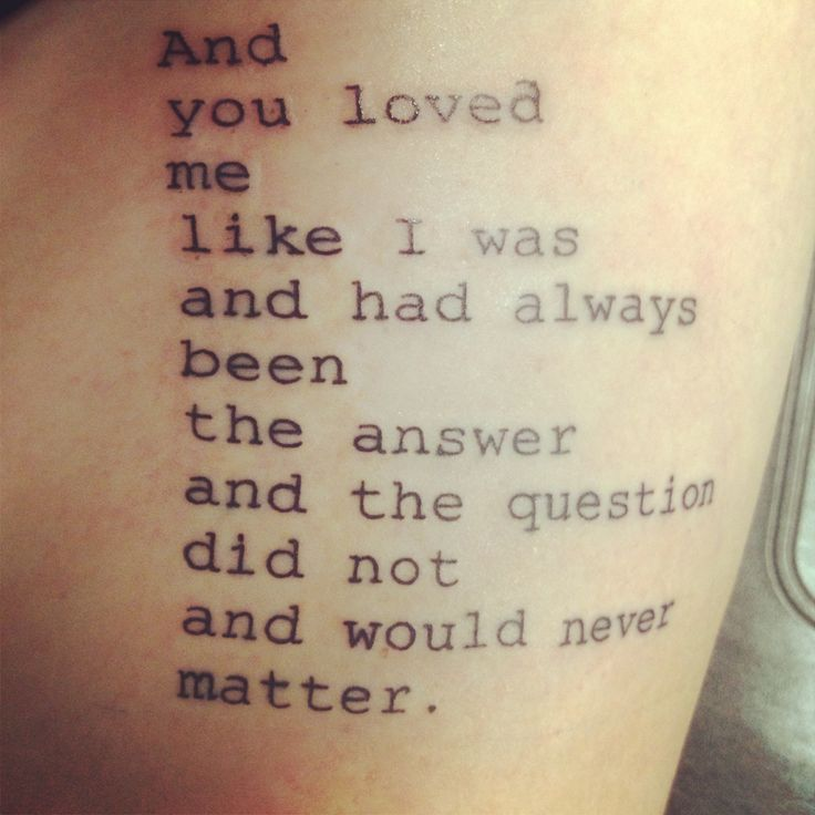 Nice Love Poem Tattoo Design