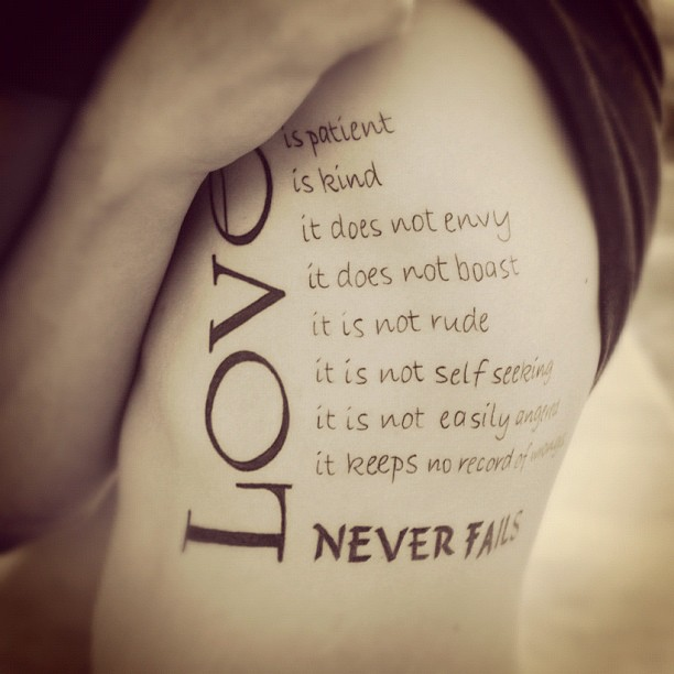 Nice Love Quote Side Rib Tattoo