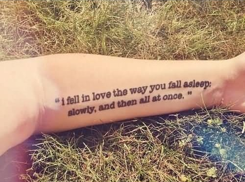 Nice Love Quote Tattoo On Lower Sleeve