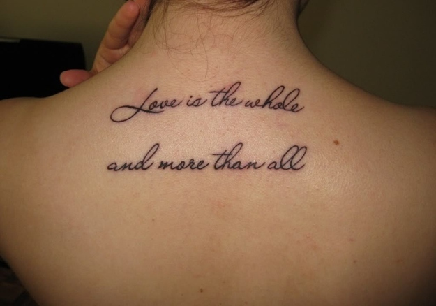 Nice Love The Whole More Than All Poem Tattoo On Girl Upper Back