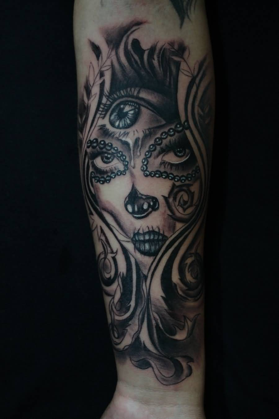 Nice Lower Sleeve Forearm Catrina Tattoo