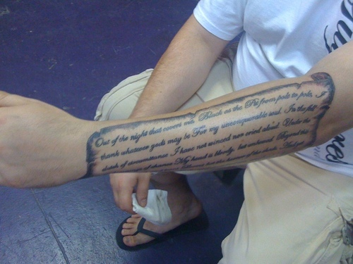 Nice Lower Sleeve Nice Poem Tattoo Design