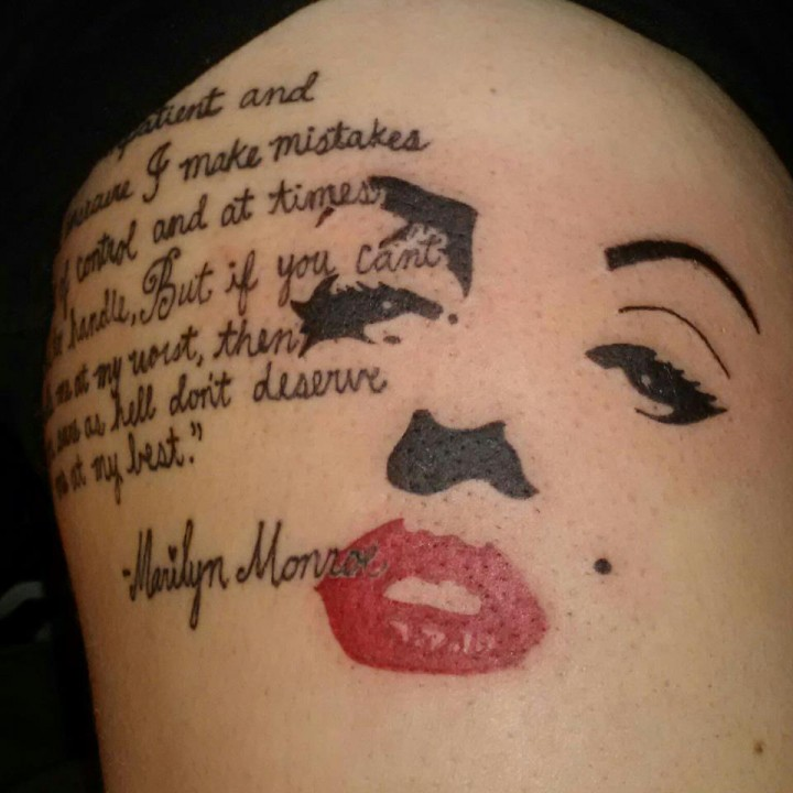 Nice Marilyn Monroe Face With Nice Literary Tattoo