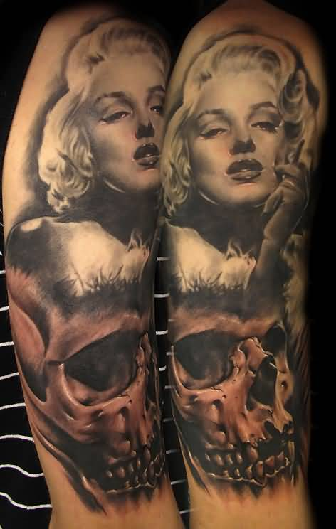 Nice Marilyn Monroe Face With Skull Tattoo Design Idea On Half Sleeve