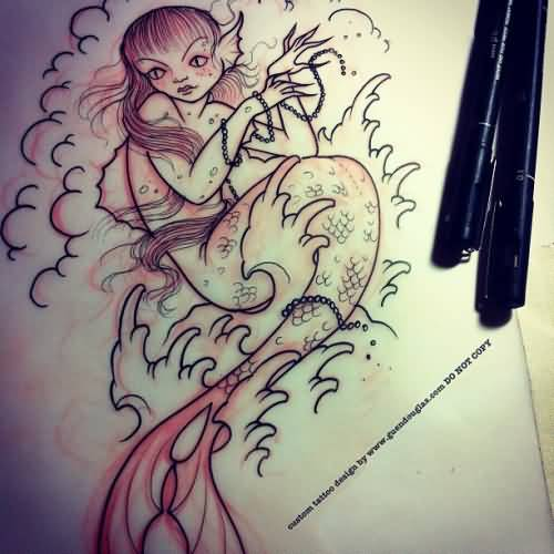Nice Mermaid Sea Creature Tattoo Stencil