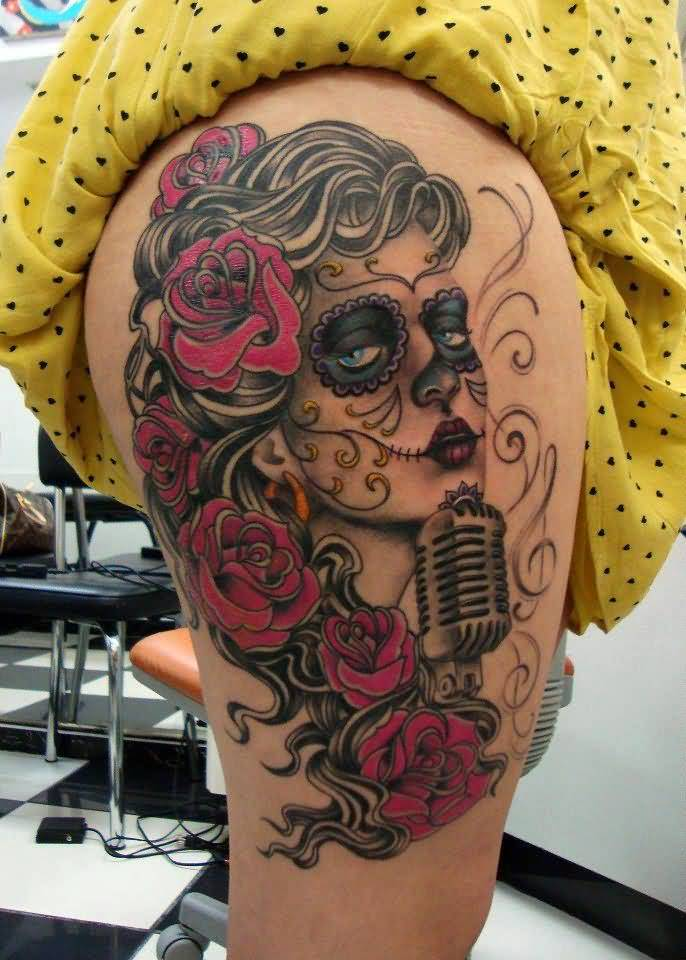 Nice Mic With Amazing And Nice Catrina Girl Tattoo On Thigh
