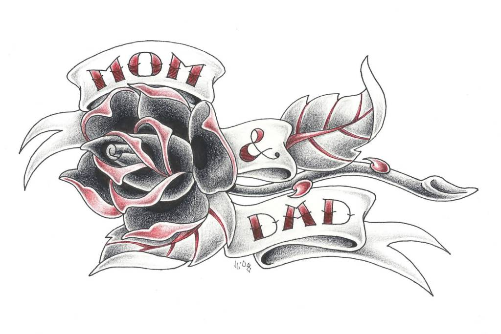 Nice Mom Banner Banner Rose Flower Tattoo