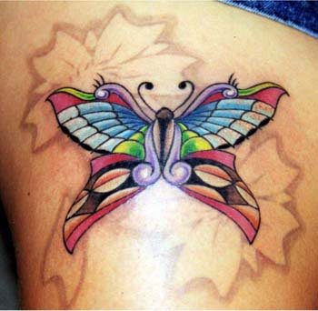 Nice Mosaic Butterfly Simple Tattoo