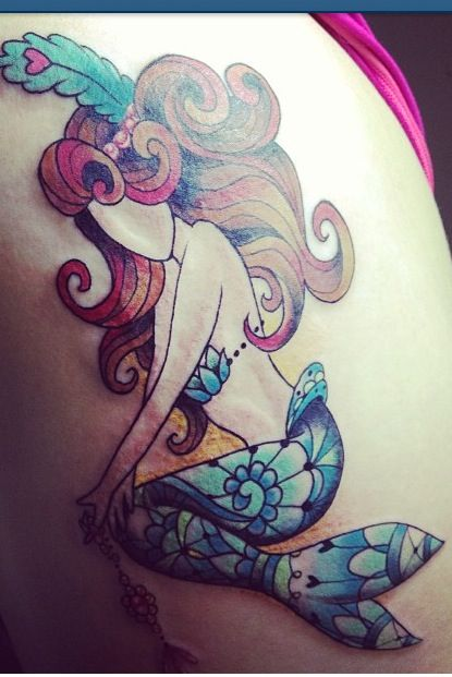 Nice Mosaic Crazy Mermaid Tattoo