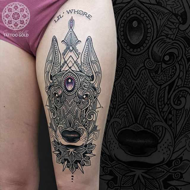 Nice Mosaic Dobernan Dog Face Tattoo Design Idea