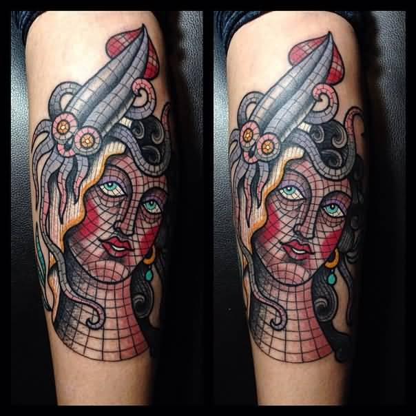 Nice Mosaic Girl With Knife Tattoo