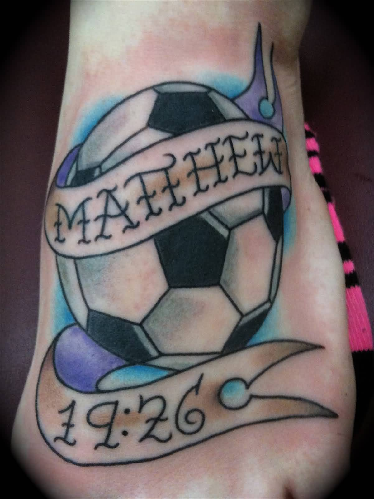 Nice Name Banner Football And Date Tattoo