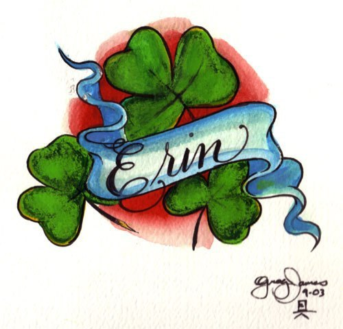 Nice Name Banner With Green Ink Shamrock Tattoo Design Idea