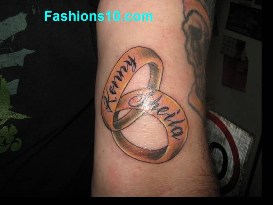 Nice Name Text Love Rings Tattoo