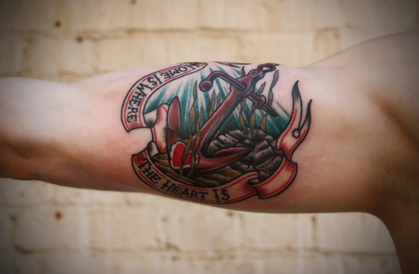 Nice Navy Anchor Tattoo Design Make On Bicep