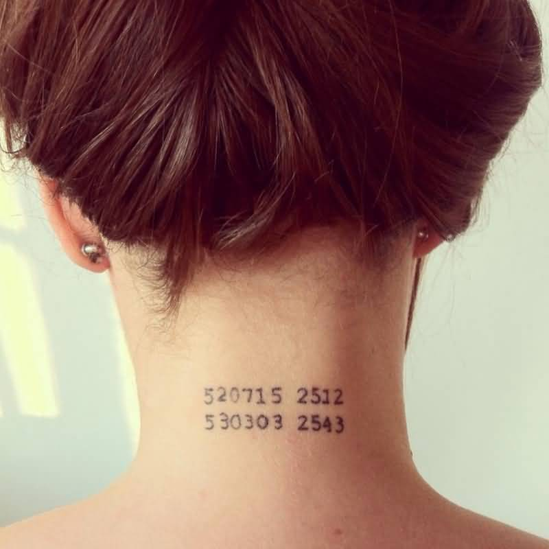Nice Numbers Tattoo Design On Nape For Girl