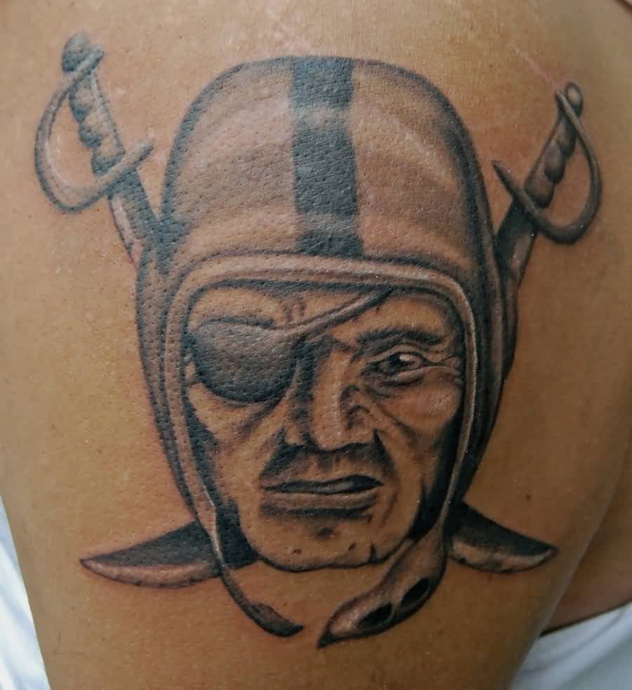 Nice Oakland Raiders Tattoo Make On Shoulder