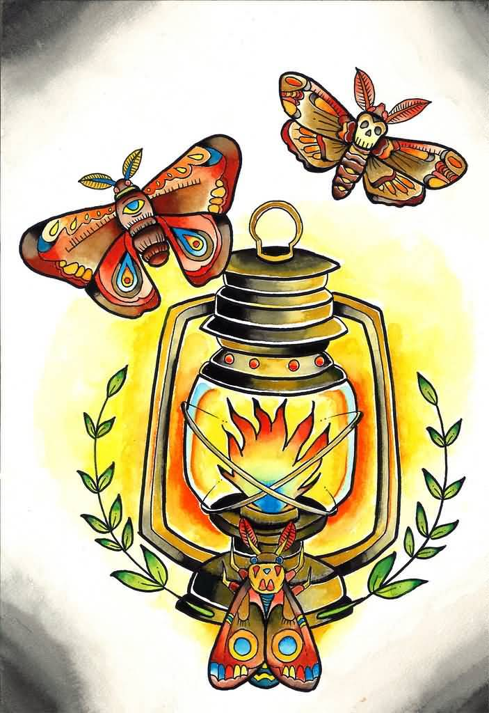 Nice Old Butterfly Lantern Tattoo