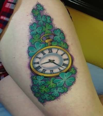 Nice Old Clock With Shamrock Clovers Tattoo
