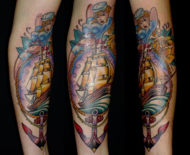 Nice Old School Anchor Pirate Ship Tattoo With Girl