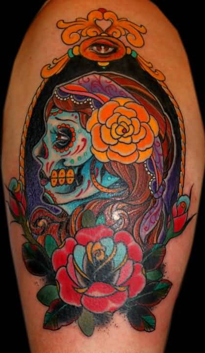 Nice Old School Colorful Roses With Latino Skull Girl Face Tattoo