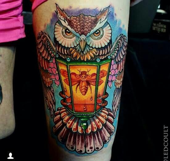 Nice Owl Lantern Burning Candle Tattoo