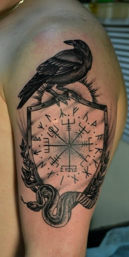 Nice Pagan Norse Tattoo Design With Nice Raven
