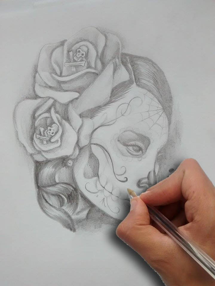 Nice Pencil Work Amazing Catrina Girl Face And Rose Tattoo