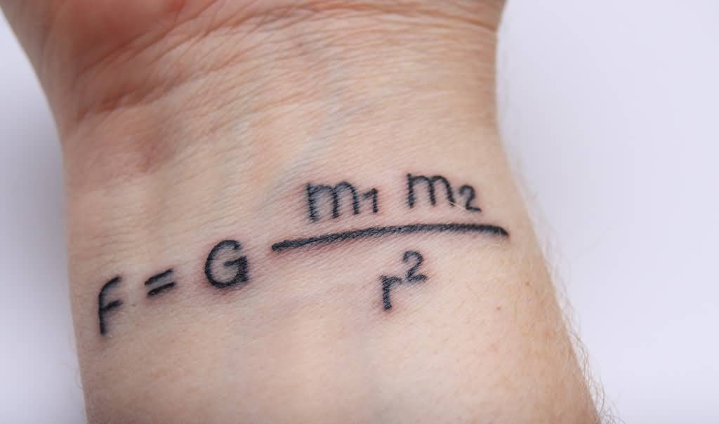 Nice Physics Gravity Formula Tattoo On Wrist