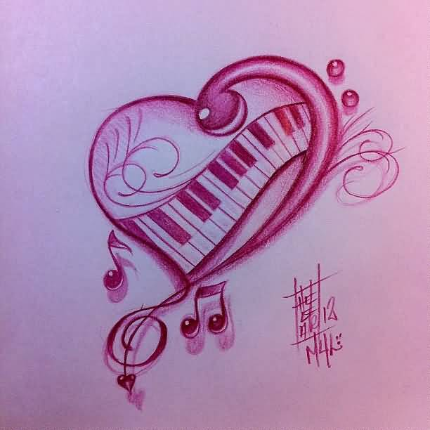 Nice Piano Keys Heart And Music Notes Tattoo Stencil