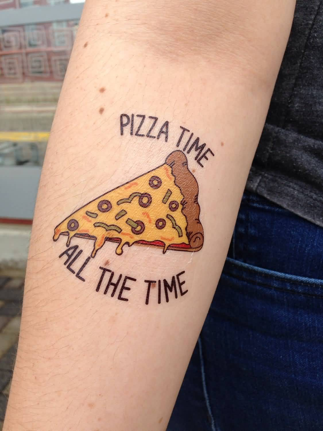 Nice Pizza Letters Tattoo On Sleeve
