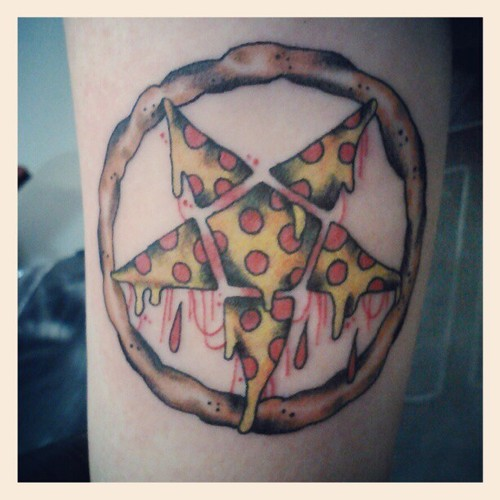 Nice Pizza Star In Circle Tattoo