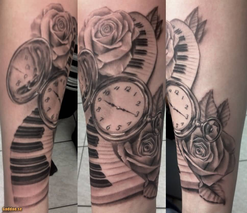 Nice Pocket Watch Piano Keys Tattoo Design With Rose