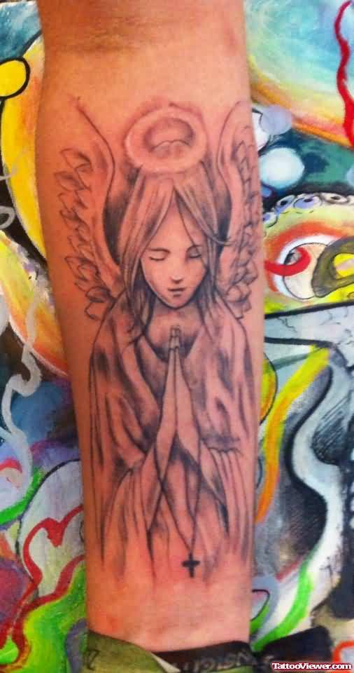 Nice Praying Angel Tattoo Make On Leg