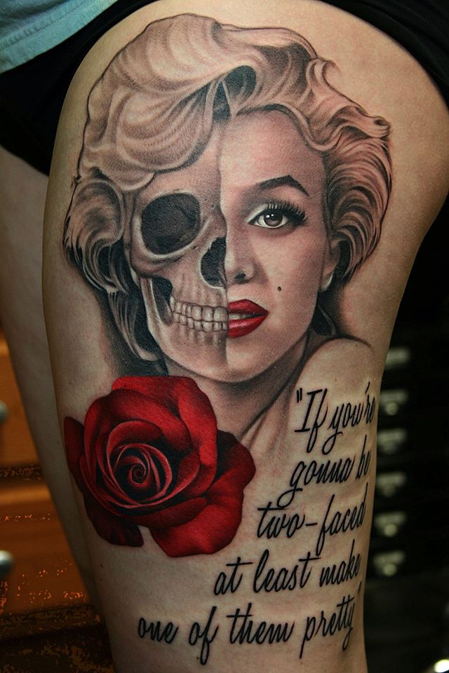 Nice Quote With Skull Marilyn Monroe Tattoo
