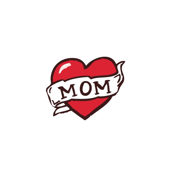 Nice Red Love Heart Mom Banner Tattoo