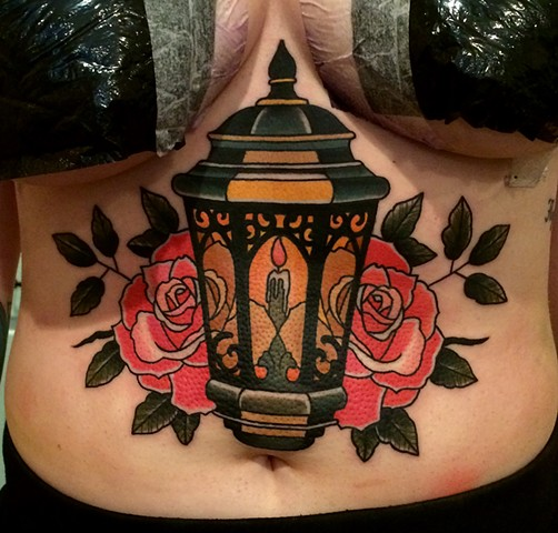 Nice Red Rose With Nice Lantern Tattoo On Girl Belly