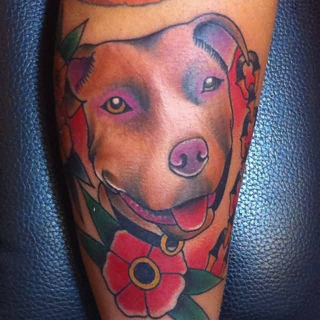 Nice Red Rose With Pitbull Face Tattoo
